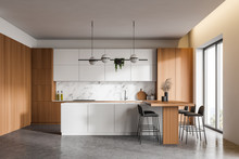 White And Wood Kitchen Interior With Bar