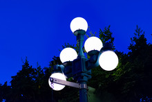 Street Lamp In The City During Blue Hour