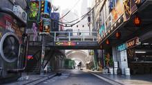 Cyberpunk City Concept, Alley Street, Daytime 3D Rendering