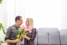 Couple In Love With A Bouquet ...