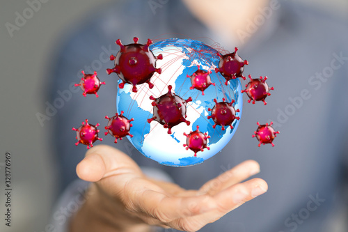 Fotografía mikro digital epidemic corona virus nCoV , Novel Coronavirus 19-NCP