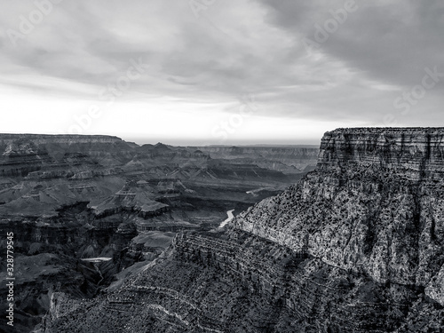 Grand Canyon and Colorado River in Black and White: Life in the Arizona Desert