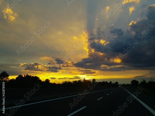 Tramonto in autostrada Canvas Print