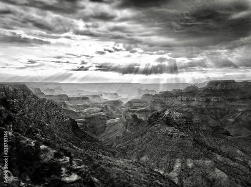 Sun light beaming down into the Grand Canyon Canvas Print