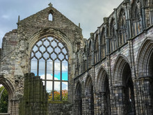 Ancient Medieval Church Chapel Ruins Of Holyrood Abbey Castle Palace.  Mary Queen Of Scotts And King James Home. Edinburgh, Scotland, Great Britain, United Kingdom, Europe.