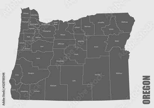 Fototapeta The Oregon State counties map with labels obraz