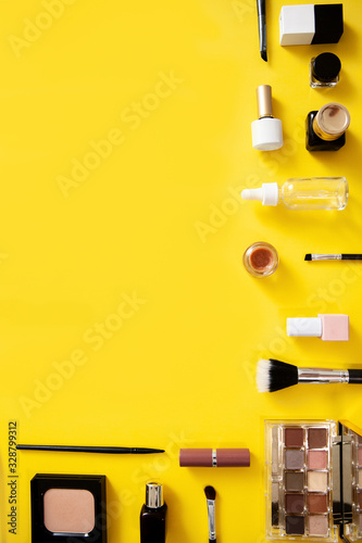 Make up web banner on yellow background.