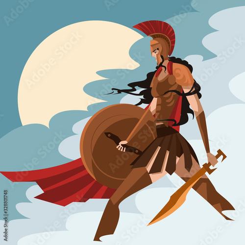 Foto strong amazon greek spartan athena warrior