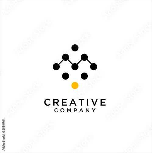 Dot Digital Letter M Icon Logo Design Element Canvas Print