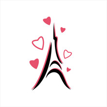 Eiffel Tower With Hearts Hand ...