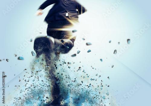 Obraz na plátně ゴールを目指して走るビジネスマン