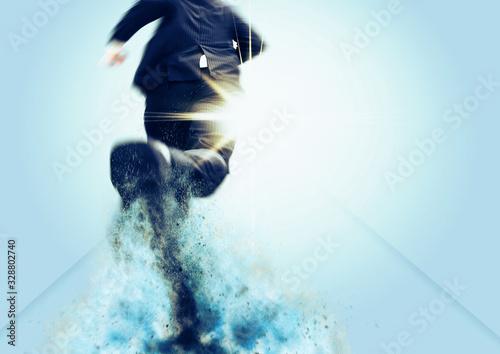 Fototapeta ゴールを目指して走るビジネスマン