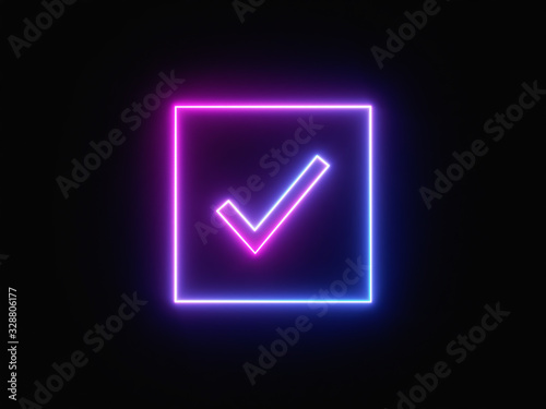 Blue and purple neon light icon isolated in black background Canvas-taulu