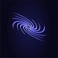 Blue Tornado, Swirling Storm Cone Of Stardust Sparkles On Dark Background. Blue Spiral Hurricane With Light Effect. Magical Stardust Tornado, Light Hurricane.