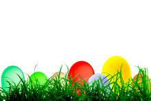 Easter Eggs On Green Grass On White Space Background With Illustration, Easter Day Concept