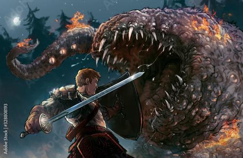 Fototapeta chevalier et créature en plein combat