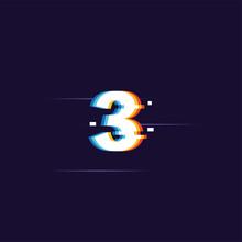 Number 3, Digital Glitched Num...