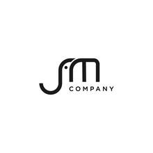 Creative Initial JM Letter Vector With Elephant Line Concept Illustration