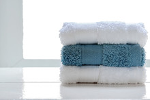 Stacked Clean Spa Towels On Wo...