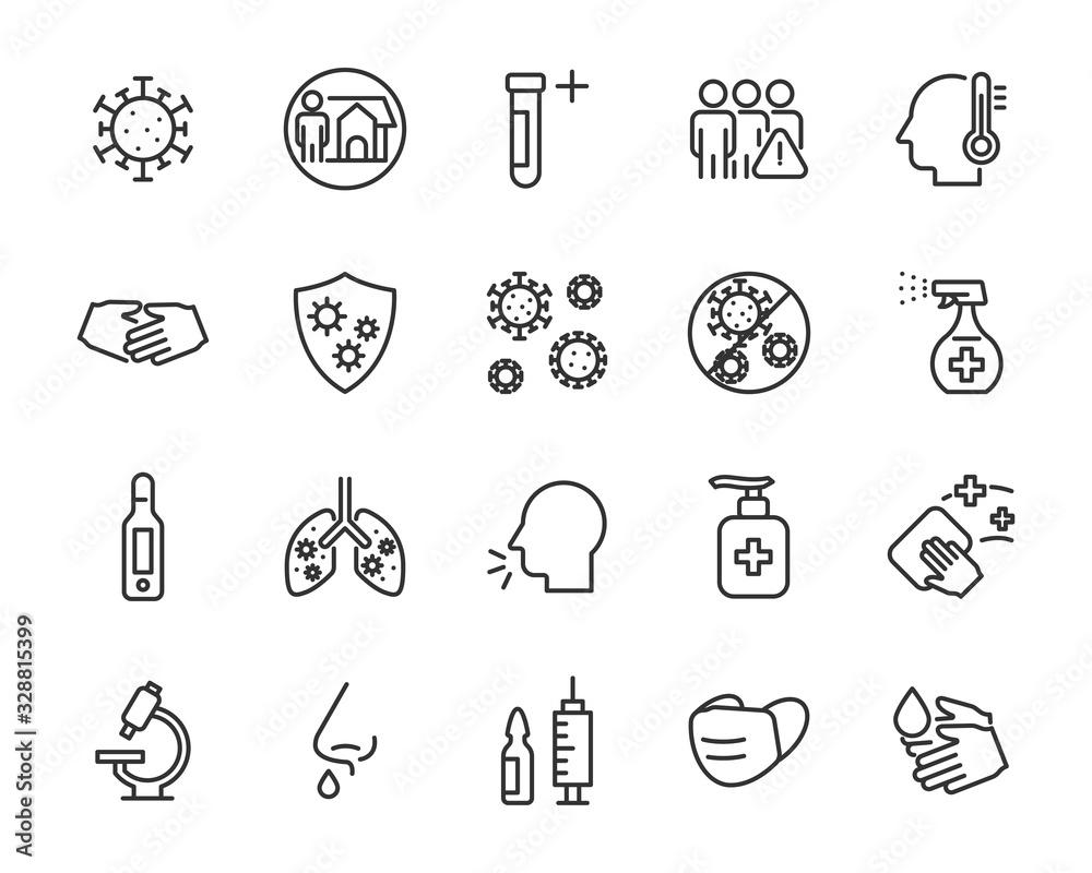 Fototapeta set of coronavirus icons, virus, ncov-2019, disease, sickness, illness