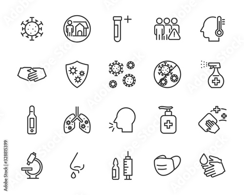 set of coronavirus icons, virus, ncov-2019, disease, sickness, illness Canvas Print
