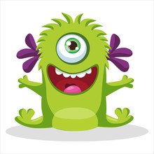 Cute Funny Green Monster With One Eye Vector Illustration. Cartoon Mascot On A White Background. Design For Print, Party Decoration, T-Shirt, Illustration, Logo, Emblem Or Sticker.