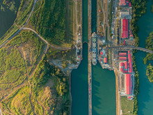 Beautiful Aerial View Of The Beautiful Aerial View Of The Panama Channel On The Sunset