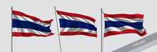 Set Of Thailand Waving Flag On Isolated Background Vector Illustration
