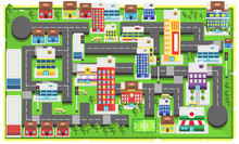 Map Green Modern City With Pat...