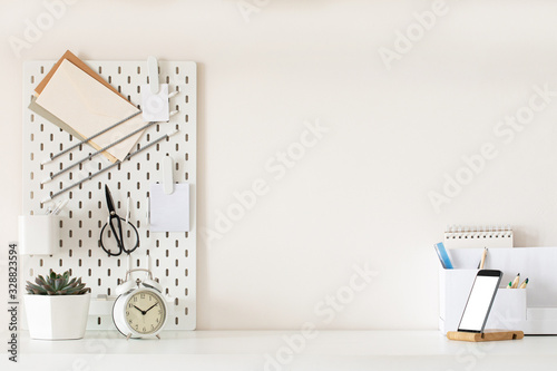 Stylish desk interior with White table background with plant and leaves. Modern home office interior