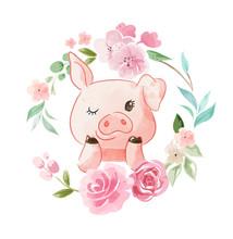 Cute Cartoon Pig In Floral Wreath Illustration
