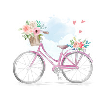 Watercolor Bicycle With Flowers In Basket Illustration