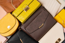 Flat Lay With Collection Of Woman Handbags. Shopping, Fashion Look, Online Beauty Blog, Sale Idea