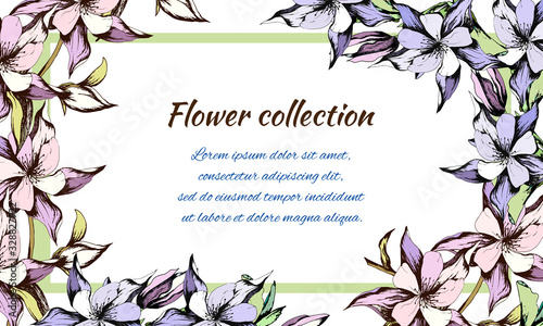 Spring floral banner drawn on a white background Wallpaper Mural