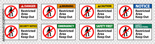 Obraz Restricted Area Keep Out Symbol Sign Isolate on transparent Background,Vector Illustration - fototapety do salonu