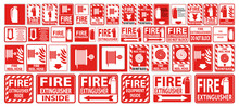 Set Label Fire Extinguisher Sign On White Background