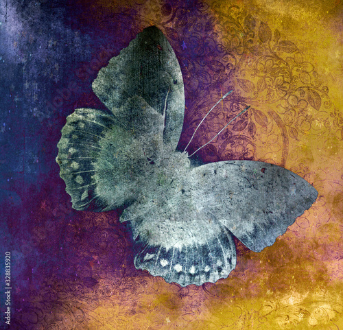 a grunge butterfly design wallpaper