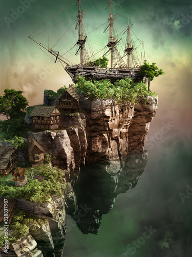 Wreck ship on a flying rock Canvas