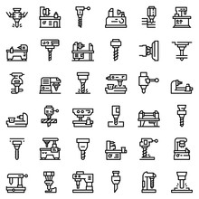 Milling Machine Icons Set. Outline Set Of Milling Machine Vector Icons For Web Design Isolated On White Background