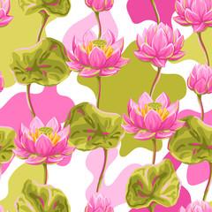 Fototapeta Egzotyczne Seamless pattern with lotus flowers. Water lily decorative illustration.