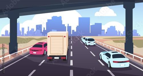 Cartoon highway traffic Fototapete