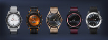 Realistic Wrist Watches. 3D Cl...