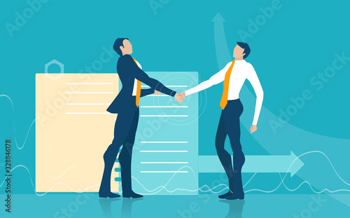 Photo Two business man shaking hands as agreement and long lasting commitment in business