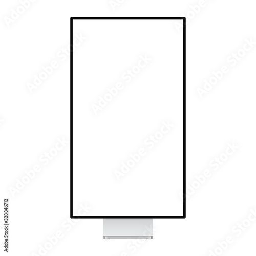 Modern vertical monitor mockup isolated on white background, front view. Vector illustration
