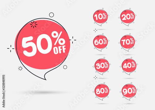 Fotomural Sale tags set vector badges template, percent sale label symbols, discount promo