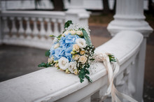 Bouquet Of Blue And White Rose...