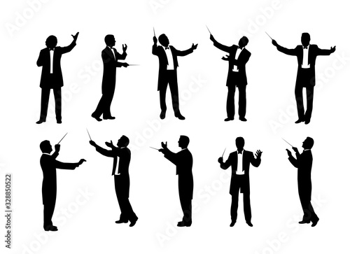 Fotomural set of conductor silhouettes vector illustration