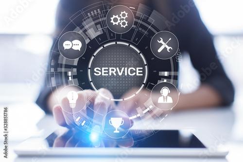 Fotomural Service support customer help call center Business technology button on virtual screen