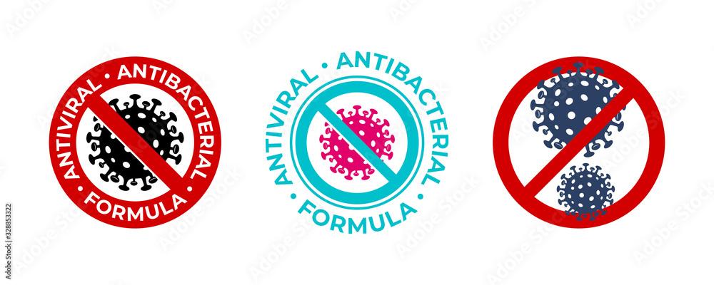 Fototapeta Antiviral antibacterial coronavirus formula vector icons. Coronavirus 2019 nCov, Covid 19 NCP virus stop signs, health protection labels