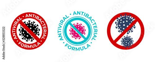 Fototapeta Antiviral antibacterial coronavirus formula vector icons. Coronavirus 2019 nCov, Covid 19 NCP virus stop signs, health protection labels obraz